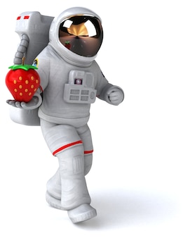 Astronauta divertido - renderização em 3d