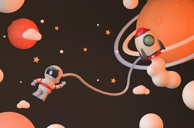 Astronauta e foguete renderizando na estratosfera