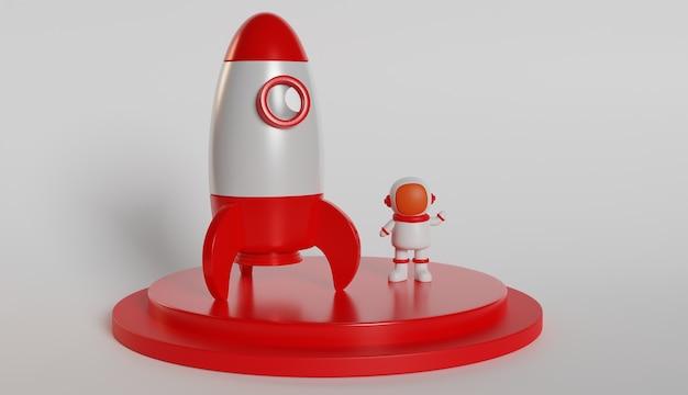 Astronauta e renderização em 3d de foguete Foto Premium