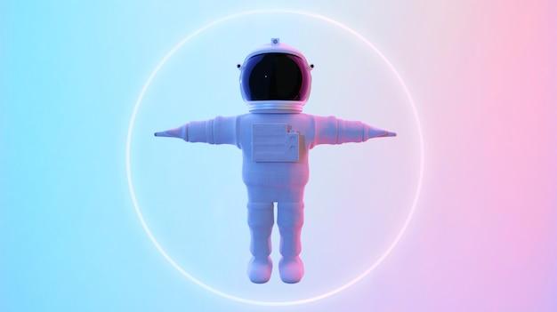 Astronauta em pé no fundo psicodélico