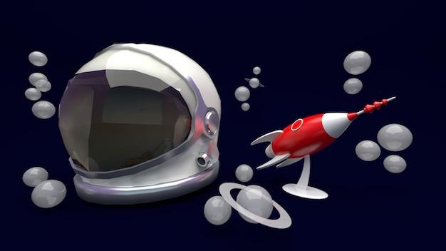 Astronauta helmet e rendição do foguete 3d.