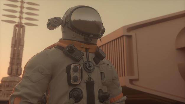 Astronauta na superfície de marte. conceito de colonização de marte. renderização 3d