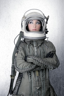 Astronauta nave espacial aeronaves capacete moda mulher