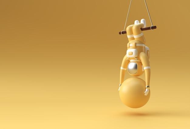 Astronauta pendurado em uma corda com uma bola de estabilidade fazendo exercícios, ilustração de renderização em 3d.
