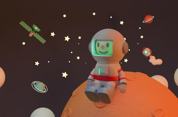 Astronauta sentado em marte, solitário. renderização. satélite e foguete