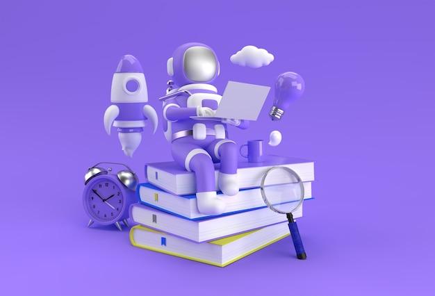 Astronauta sentado na pilha de livros com o trabalho no laptop 3d rendem a ilustração.
