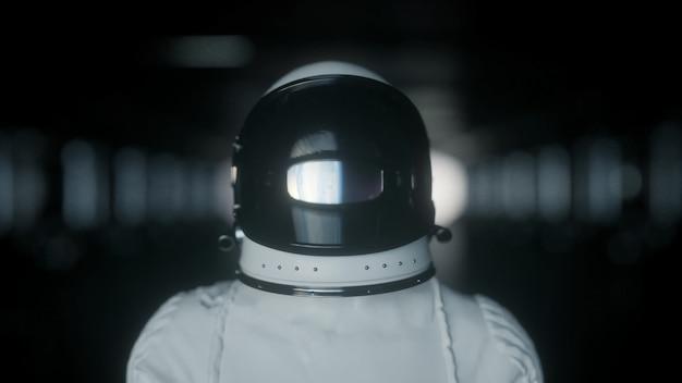 Astronauta sozinho em uma nave futurista, quarto. foto de retrato do astronauta usando capacete no espaço. renderização 3d.