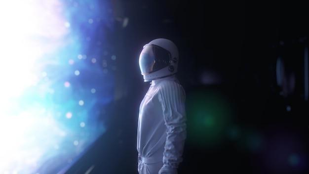 Astronauta sozinho na sala da nave espacial futurista. renderização 3d.