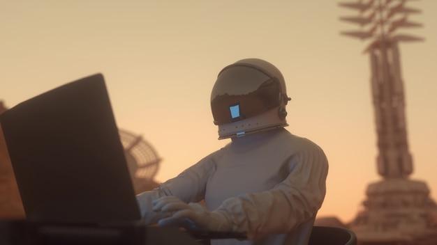Astronauta trabalha em seu laptop de ciências em uma colônia espacial em um dos planetas