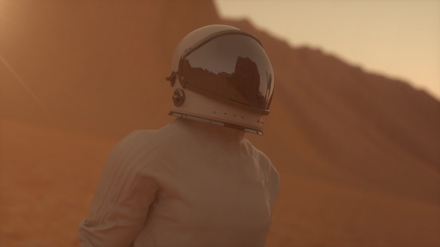 Astronauta vestindo traje espacial na superfície de marte. explorando a missão de marte. conceito de colonização e exploração espacial. renderização 3d.