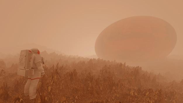 Astronautas em viajantes espaciais de marte explorando a paisagem vermelha no mundo vermelho. renderização 3d