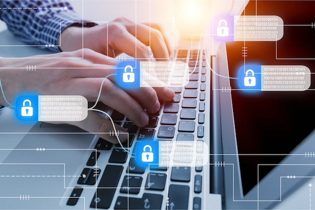 Ataque de hackers e violação de dados, co-conceito de informações