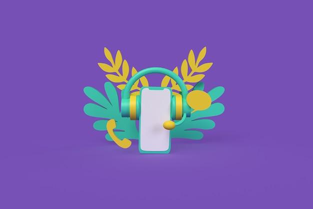 Atendimento ao cliente por conceito de telefone ilustração de renderização 3d de estilo de argila