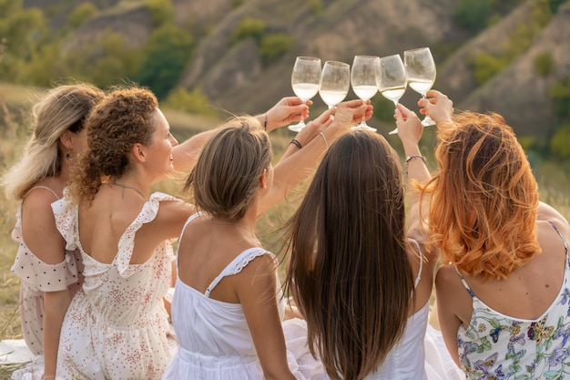 Atire de trás. a companhia de amigos lindos se divertindo, brindando e bebendo vinho e desfrutando de um piquenique na paisagem das colinas.