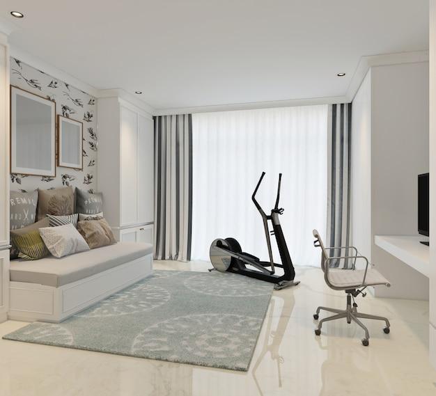 Atividades ou sala de relaxamento com design clássico moderno. renderização em 3d