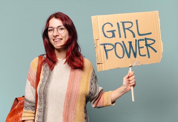Ativista estudante tty. conceito de poder feminino