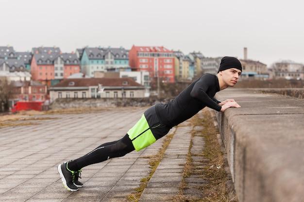 Atleta, fazer, push-ups