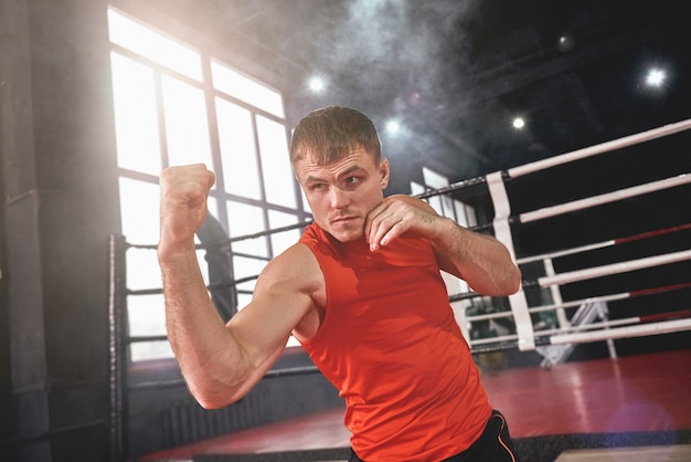 Atleta musculoso focado em roupas esportivas, jogando uppercut. jovem boxeando com sombra em frente ao ringue de boxe colorido