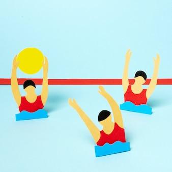 Atletas de pólo aquático em estilo jornal