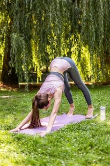 Atlética mulher está fazendo exercício para a coluna, estendendo-se ao ar livre
