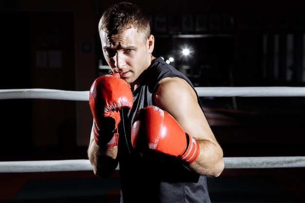 Atlético jovem em luvas de boxe boxe no ringue.