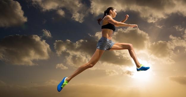 Atletismo luz do sol mulher cortar grande