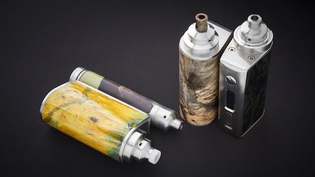 Atomizadores de gotejamento reconstruíveis de ponta para caçador de sabores em mods de caixa de madeira estabilizada, dispositivo de vaporização