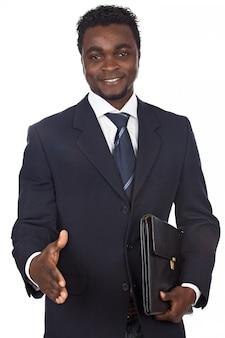 Atraente, africano, homem negócios, um, sobre, fundo branco