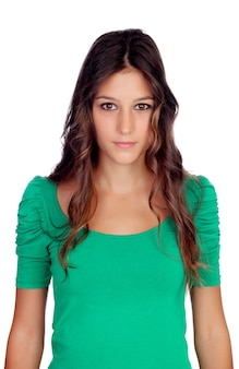 Atraente, casual, menina, com, verde, t-shirt