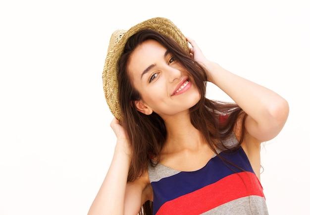 Atraente, mulher jovem, sorrindo, com, chapéu