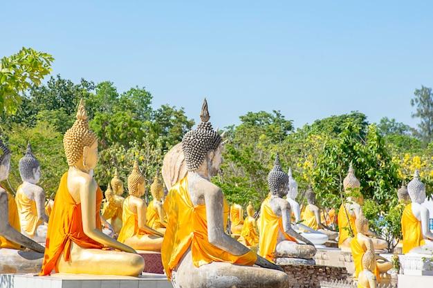 Atrás da estátua de buddha coberta no pano amarelo, céu em wat phai rong wua, suphan buri em tailândia.