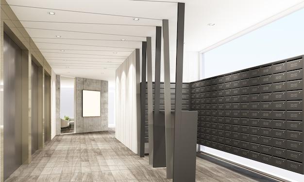 Átrio e caixa de correio do loft do mainhall em renderização em 3d de design de interiores de condomínio