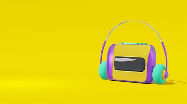 Áudio player cassete cartoon estilo amarelo fundo renderização em 3d
