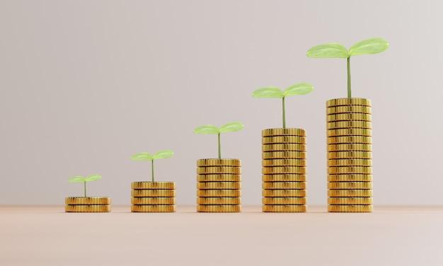 Aumentando o crescimento de moedas empilhadas com a planta, o lucro do investimento e o dinheiro de dividendos do conceito de economia por renderização em 3d.