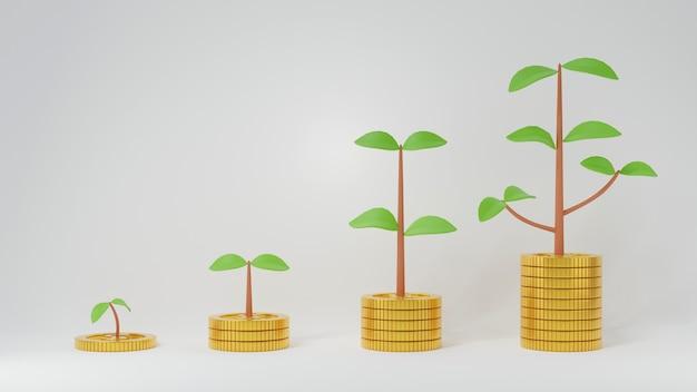 Aumente as pilhas de moedas de ouro com o crescimento do broto até o galho da árvore com as folhas isoladas em branco