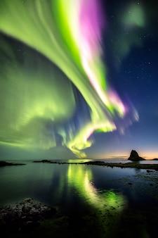 Aurora boreal no céu