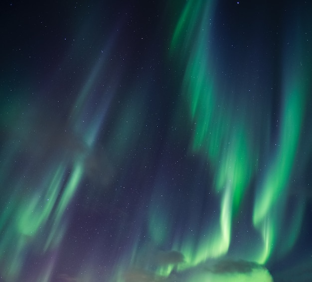 Aurora boreal verde, luzes do norte com estrelas brilhando no céu noturno do círculo ártico