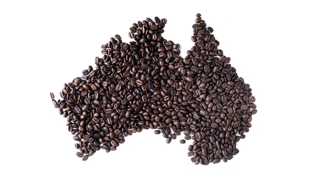 Austrália continental feita de grãos de café isolados.
