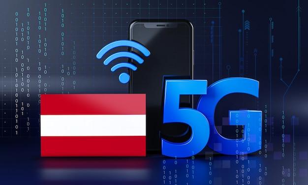 Áustria pronta para o conceito de conexão 5g. fundo de tecnologia de smartphone de renderização 3d