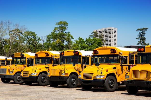 Autocarros escolares americanos típicos entram num parque de estacionamento