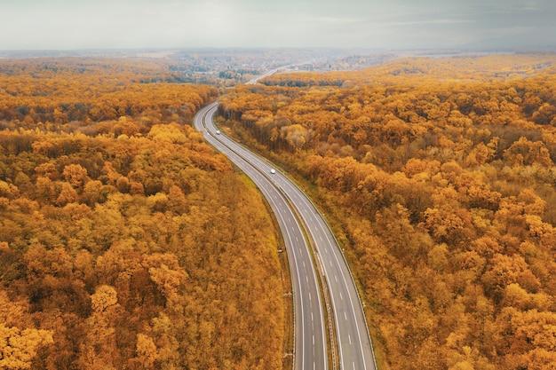 Autoestrada curva voltada para o horizonte em meio à floresta de outono amarela - uma perspectiva atmosférica do alto do vôo do drone
