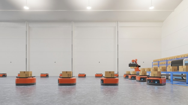 Automação de fábrica com agv e braço robótico em transporte para aumentar mais o transporte com segurança.