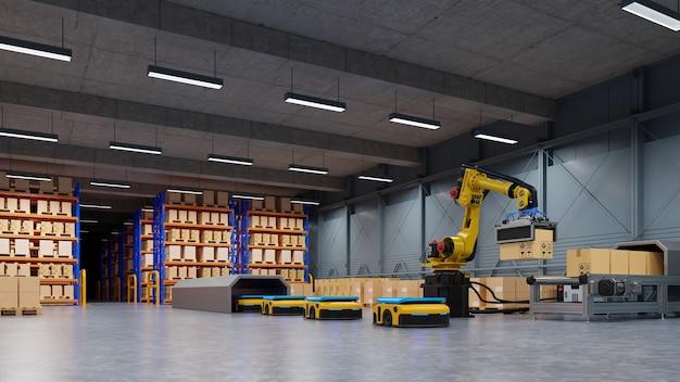 Automação de fábrica com agv e braço robótico no transporte para aumentar mais o transporte com segurança. renderização 3d