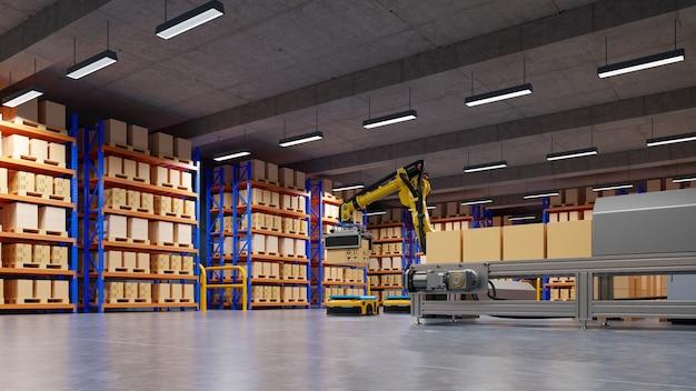 Automação de fábrica com agv e braço robótico no transporte para aumentar mais o transporte com segurança