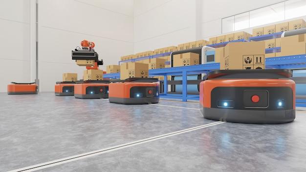 Automação de fábrica com agv e braço robótico no transporte para aumentar mais o transporte com segurança.