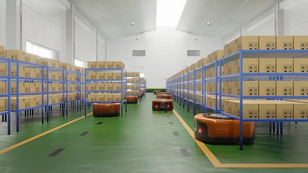 Automação de fábrica com agv em transporte para aumentar mais o transporte com segurança.