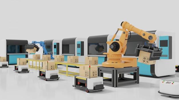 Automação de fábrica com agvs, impressoras 3d e braço robótico