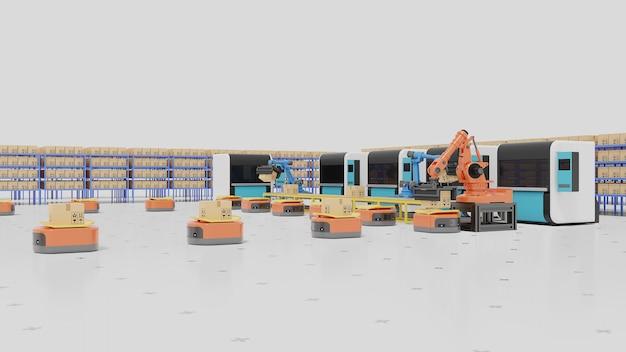 Automação de fábrica com agvs, impressoras 3d e braço robótico.