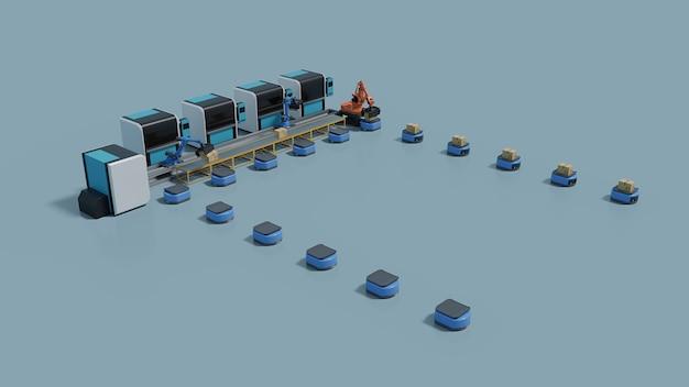 Automação de fábrica com veículo guiado automático e braço robótico.