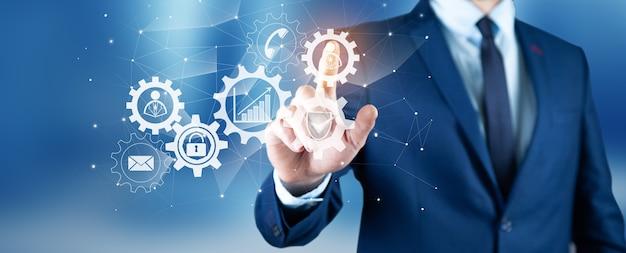 Automação para gerenciamento de tecnologia de negócios e diagrama de fluxo de trabalho com engrenagens e ícones